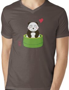 Cute Panda with Bamboo Bathtub  Mens V-Neck T-Shirt