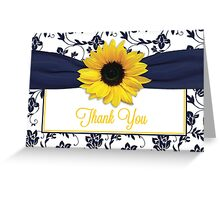 Yellow Sunflower Navy Blue Damask Floral Thank You Card Greeting Card