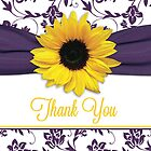 Yellow Sunflower Purple Damask Floral Thank You Card by wasootch