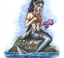 Lirasa - Mermaid with her pet octi by ConnieFaye