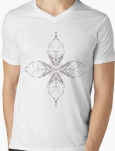 abstract flora flowers circular graphic design Mens V-Neck T-Shirt