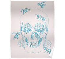 Honeycomb skull screenprint Poster