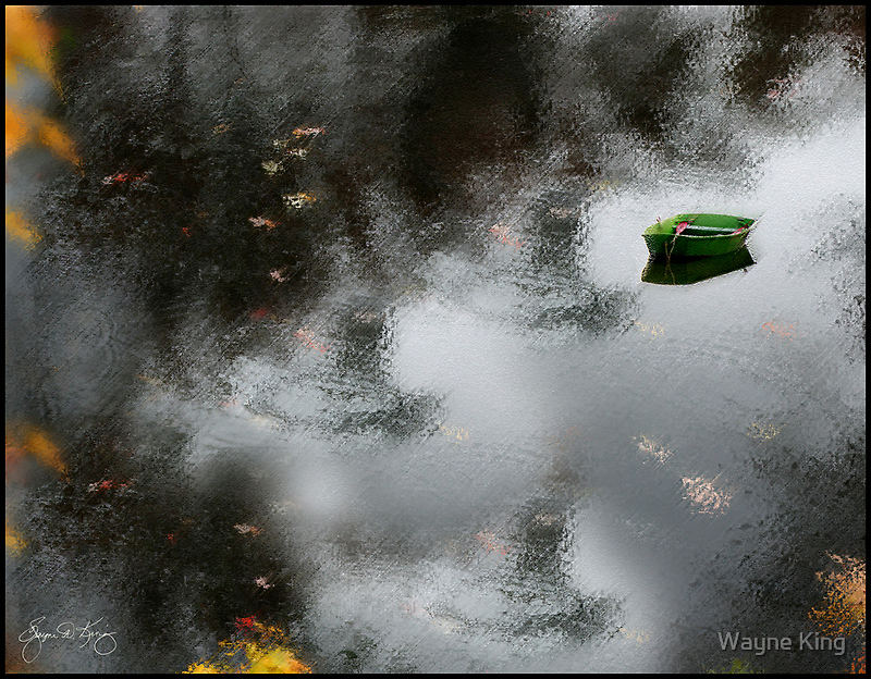 Green Dingy in Gray Water by Wayne King