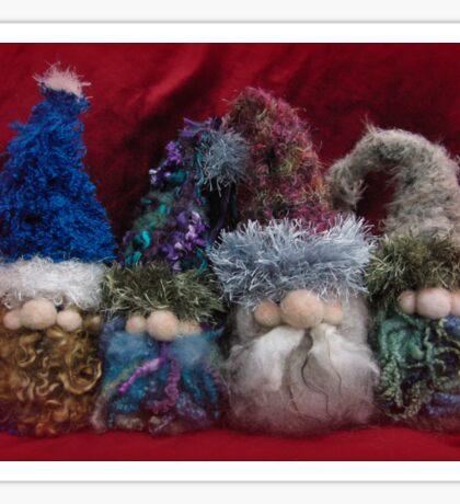 Handmade needle felted creation from Teddy Bear Orphans - Gnome Quartet Sticker