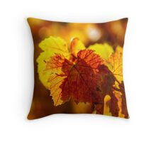 Colorful golden leaves of grape, Alsace Throw Pillow