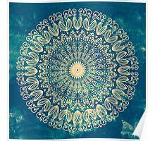 Blue Organic Boho Mandala Poster