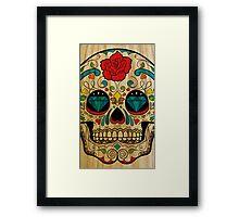 Wood Sugar Skull Framed Print