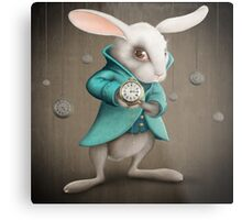 white rabbit with clock Metal Print