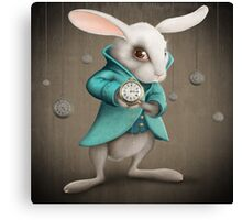 white rabbit with clock Canvas Print