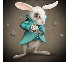 white rabbit with clock Photographic Print