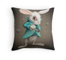 white rabbit with clock Throw Pillow