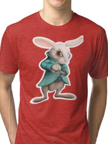 white rabbit with clock Tri-blend T-Shirt