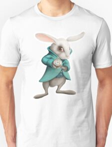 white rabbit with clock Unisex T-Shirt