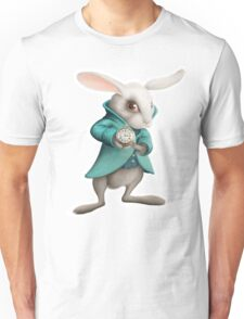 white rabbit with clock Unisex T-Shirt