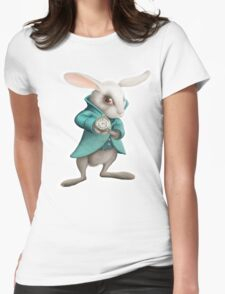 white rabbit with clock Womens Fitted T-Shirt