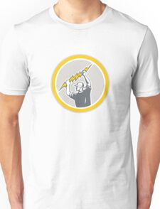 Electrician Holding Lightning Bolt Side Retro Unisex T-Shirt