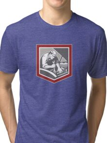 Car Mechanic Repair Automobile Shield Retro Tri-blend T-Shirt