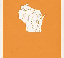 Wisconsin Minimalist Vintage Map by FinlayMcNevin