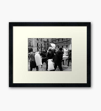 The Pillow Fight Framed Print