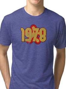 Vintage Look 1970's Funky Year Graphic 1978 Tri-blend T-Shirt
