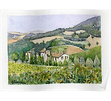 UMBRIA ITALY - Watercolor Poster