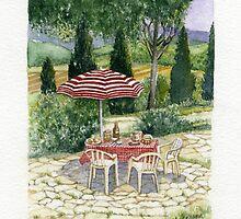 """IL PRANZO"" TUSCANY ITALY - Watercolor by Elizabeth Anderson"