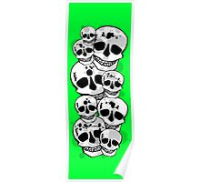 Black green white paint splatter skulls design Poster