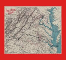 Civil War Maps 1077 Map showing the location of battle fields of Virginia One Piece - Short Sleeve