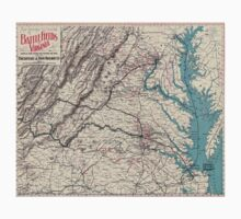 Civil War Maps 1077 Map showing the location of battle fields of Virginia Kids Tee
