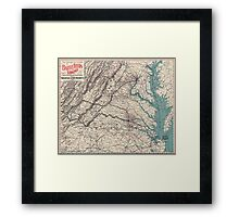 Civil War Maps 1077 Map showing the location of battle fields of Virginia Framed Print