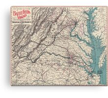 Civil War Maps 1077 Map showing the location of battle fields of Virginia Canvas Print