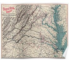 Civil War Maps 1077 Map showing the location of battle fields of Virginia Poster