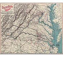Civil War Maps 1077 Map showing the location of battle fields of Virginia Photographic Print