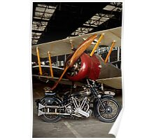 Brough Superior SS 100 and Biplane Poster