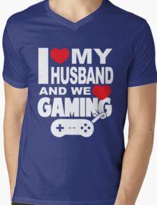 I LOVE MY HUSBAND AND WE LOVE GAMING Mens V-Neck T-Shirt