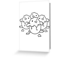 Many freshly hatched chicks team Greeting Card