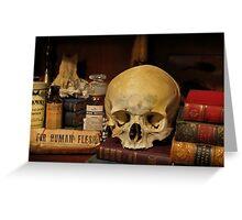 Antique Medical Books & Human Skull Greeting Card
