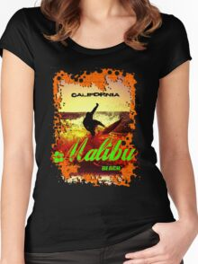 Malibu Beach Surfer Women's Fitted Scoop T-Shirt