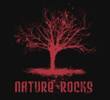 Nature Rocks Red Tree Silhouette  by ArtVixen