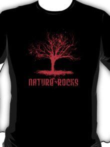Nature Rocks Red Tree Silhouette  T-Shirt
