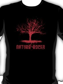 Nature Rocks Red Tree Silhouette  T-Shirt