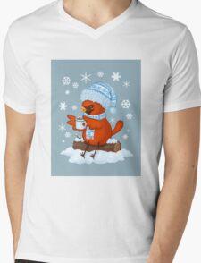 Christmas Cardinal Mens V-Neck T-Shirt