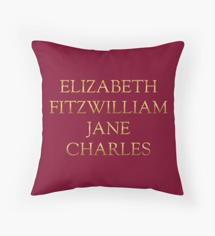 Characters from Pride & Prejudice Throw Pillow