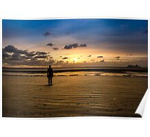 Another Place - Crosby Beach Iron Man at Sunset Poster
