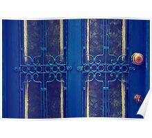 blue door in bodrum street Poster