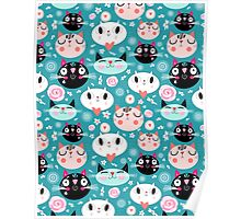 pattern of love funny cats Poster