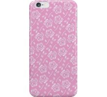 Stylish Rose Pattern on Pink Background iPhone Case/Skin