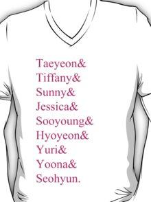 SNSD Member Names (PINK) T-Shirt