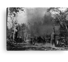 Two Dolbeers and a Shay working near Cedar Creek. Canvas Print