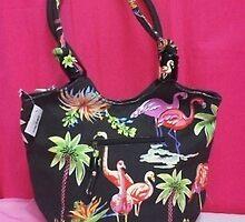 Hobo Style Flamingo Beach Bag by swimwearonthego